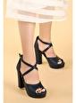 Ayakland Ayakland 3210-2058 Cilt Abiye 11 Cm Platform Topuk Bayan Sandalet Ayakkabı Lacivert
